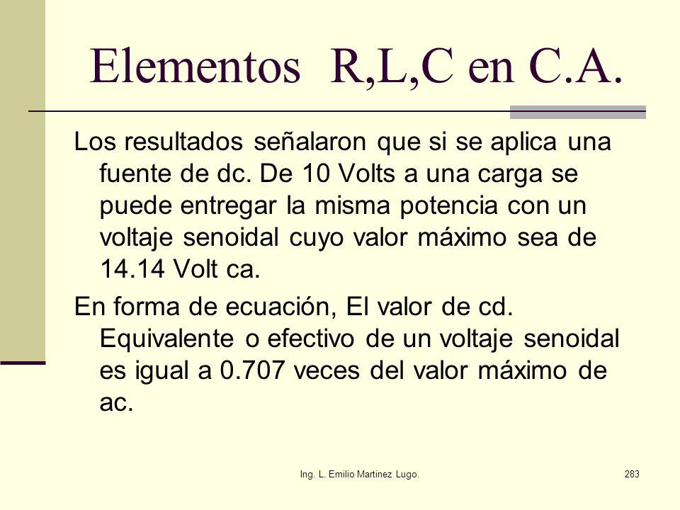 Ing. L. Emilio Martinez Lugo.283 Elementos R,L,C en C.A. Los resultados señalaron que si se aplica una fuente de dc. De 10 Volts a una carga se puede