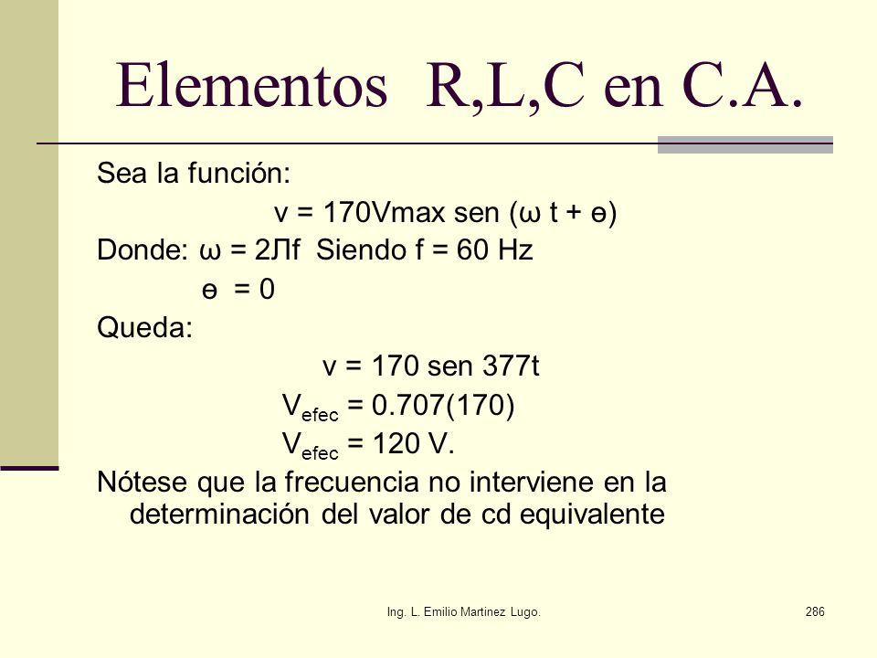 Ing. L. Emilio Martinez Lugo.286 Elementos R,L,C en C.A. Sea la función: v = 170Vmax sen (ω t + ө) Donde: ω = 2 Лf Siendo f = 60 Hz ө = 0 Queda: v = 1
