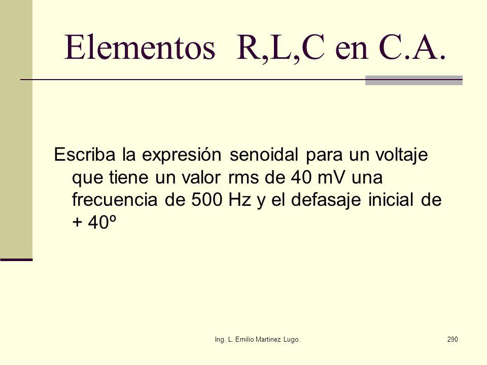 Ing. L. Emilio Martinez Lugo.290 Elementos R,L,C en C.A. Escriba la expresión senoidal para un voltaje que tiene un valor rms de 40 mV una frecuencia