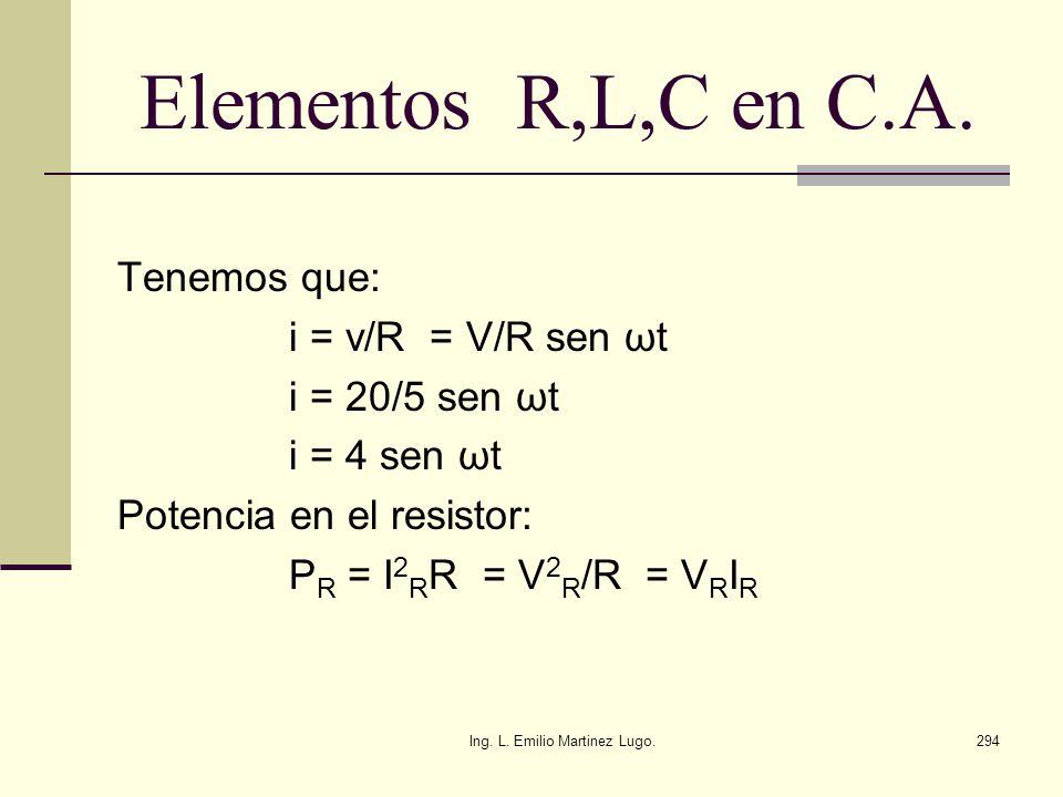 Ing. L. Emilio Martinez Lugo.294 Elementos R,L,C en C.A. Tenemos que: i = v/R = V/R sen ωt i = 20/5 sen ωt i = 4 sen ωt Potencia en el resistor: P R =