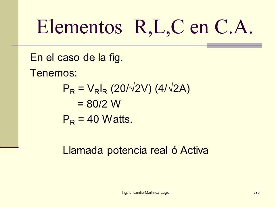 Ing. L. Emilio Martinez Lugo.295 Elementos R,L,C en C.A. En el caso de la fig. Tenemos: P R = V R I R (20/2V) (4/2A) = 80/2 W P R = 40 Watts. Llamada