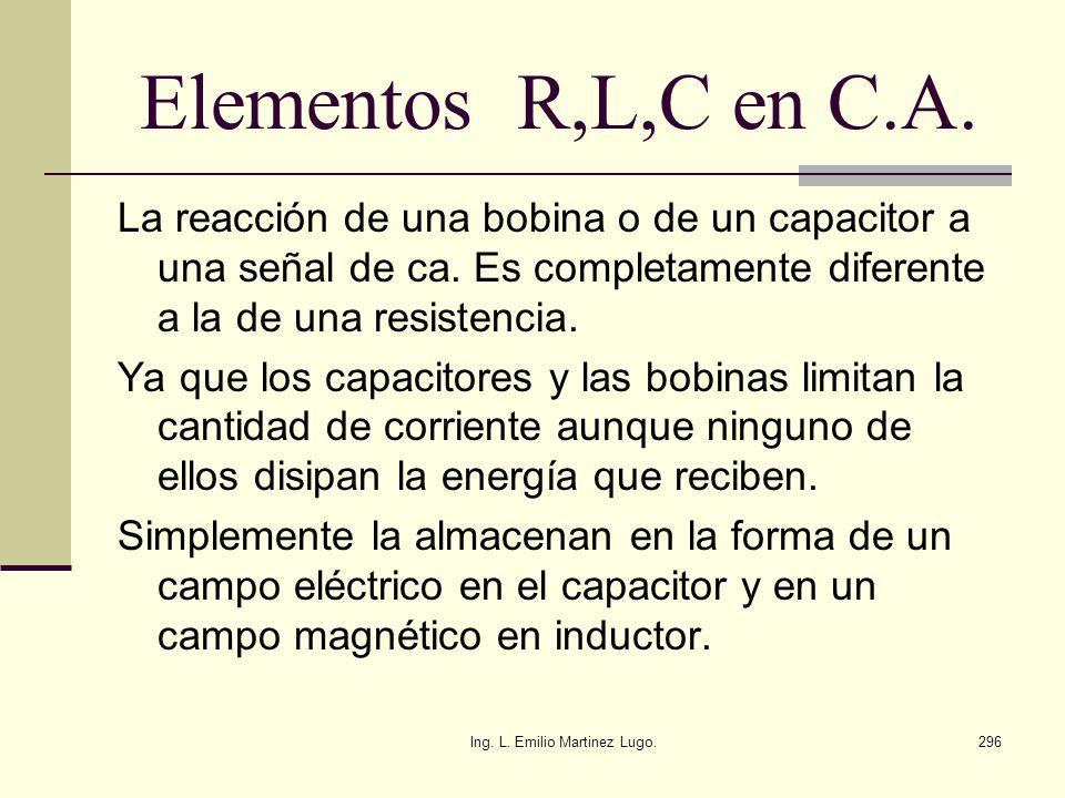 Ing. L. Emilio Martinez Lugo.296 Elementos R,L,C en C.A. La reacción de una bobina o de un capacitor a una señal de ca. Es completamente diferente a l