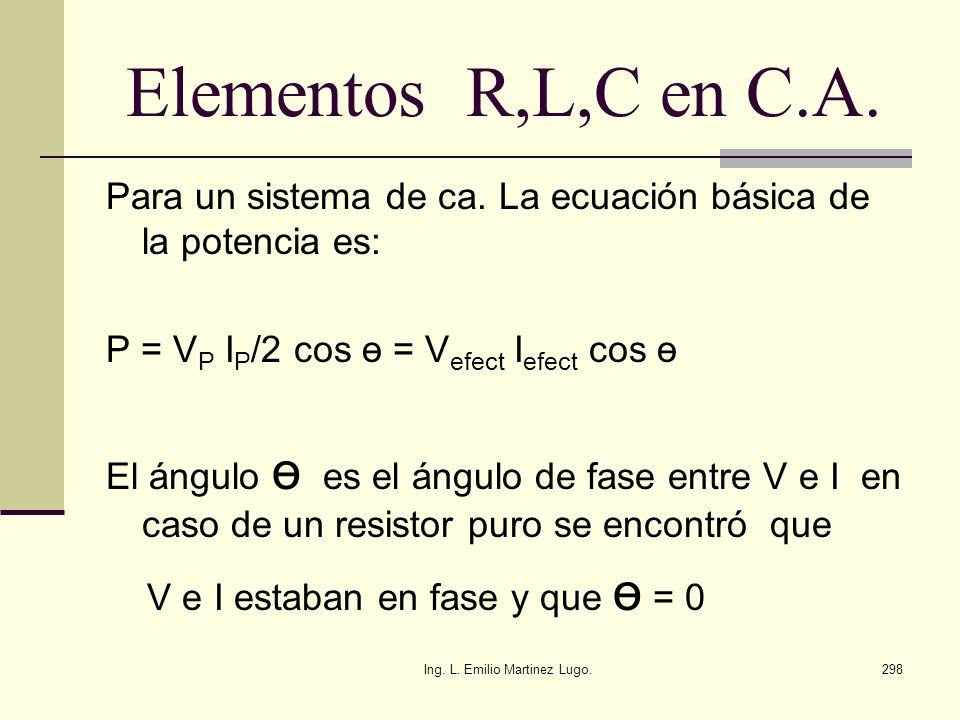 Ing. L. Emilio Martinez Lugo.298 Elementos R,L,C en C.A. Para un sistema de ca. La ecuación básica de la potencia es: P = V P I P /2 cos ө = V efect I