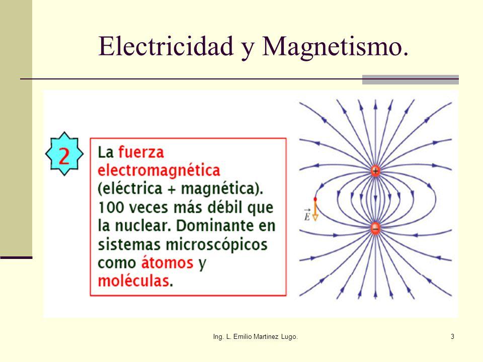 Ing. L. Emilio Martinez Lugo.3 Electricidad y Magnetismo.