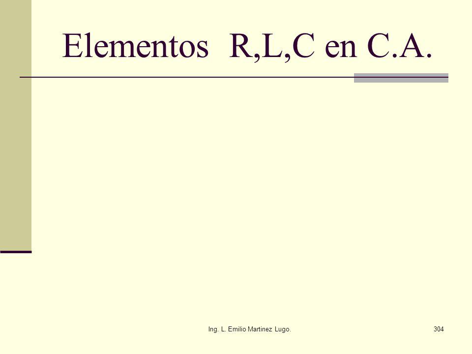 Ing. L. Emilio Martinez Lugo.304 Elementos R,L,C en C.A.