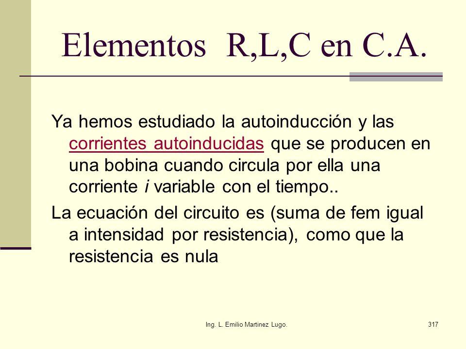 Ing. L. Emilio Martinez Lugo.317 Elementos R,L,C en C.A. Ya hemos estudiado la autoinducción y las corrientes autoinducidas que se producen en una bob