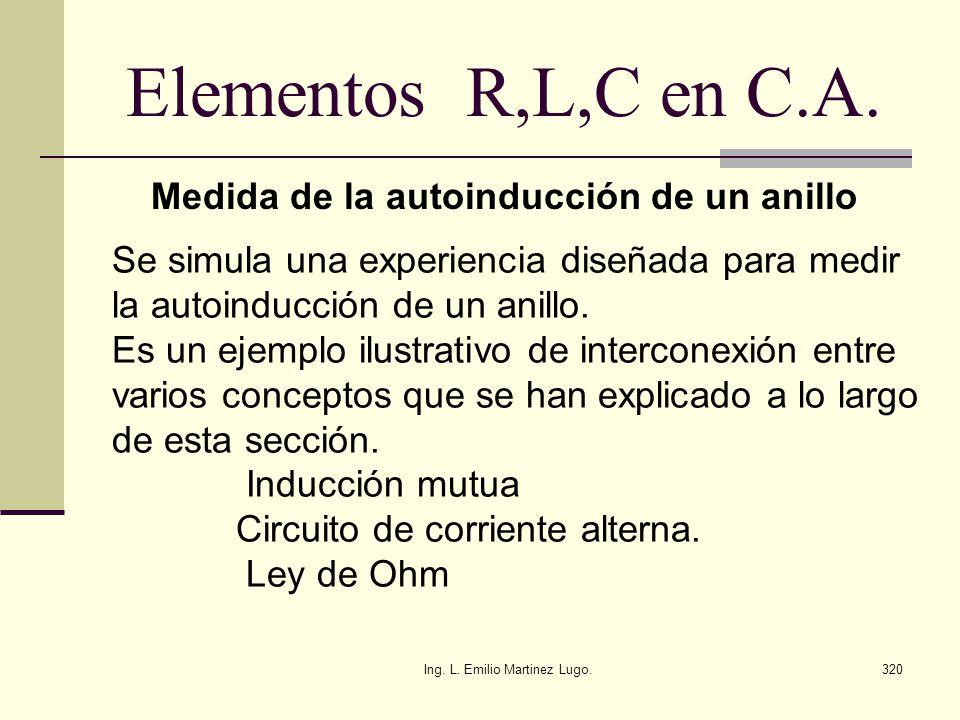 Ing. L. Emilio Martinez Lugo.320 Elementos R,L,C en C.A. Medida de la autoinducción de un anillo Se simula una experiencia diseñada para medir la auto
