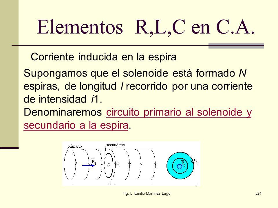 Ing. L. Emilio Martinez Lugo.324 Elementos R,L,C en C.A. Corriente inducida en la espira Supongamos que el solenoide está formado N espiras, de longit