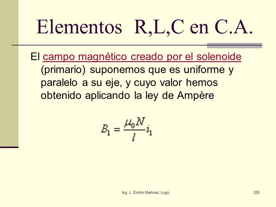Ing. L. Emilio Martinez Lugo.326 Elementos R,L,C en C.A. El campo magnético creado por el solenoide (primario) suponemos que es uniforme y paralelo a