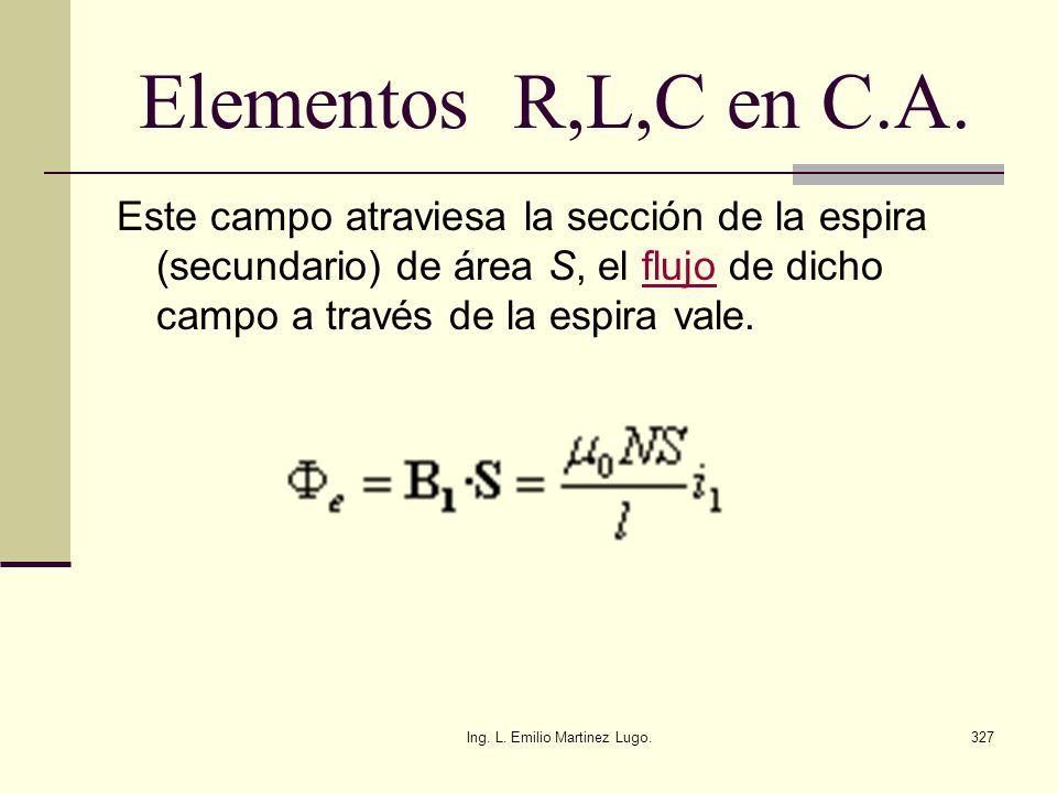 Ing. L. Emilio Martinez Lugo.327 Elementos R,L,C en C.A. Este campo atraviesa la sección de la espira (secundario) de área S, el flujo de dicho campo