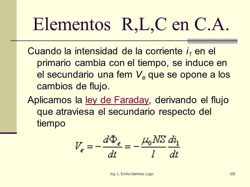 Ing. L. Emilio Martinez Lugo.328 Elementos R,L,C en C.A. Cuando la intensidad de la corriente i 1 en el primario cambia con el tiempo, se induce en el