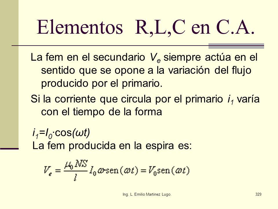 Ing. L. Emilio Martinez Lugo.329 Elementos R,L,C en C.A. La fem en el secundario V e siempre actúa en el sentido que se opone a la variación del flujo