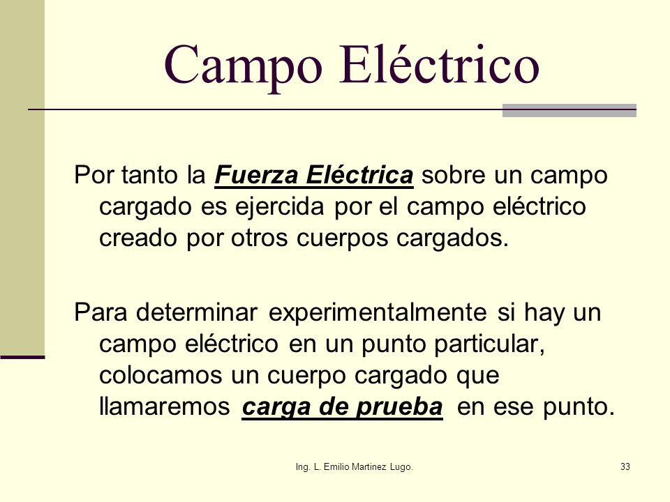 Ing. L. Emilio Martinez Lugo.33 Campo Eléctrico Por tanto la Fuerza Eléctrica sobre un campo cargado es ejercida por el campo eléctrico creado por otr