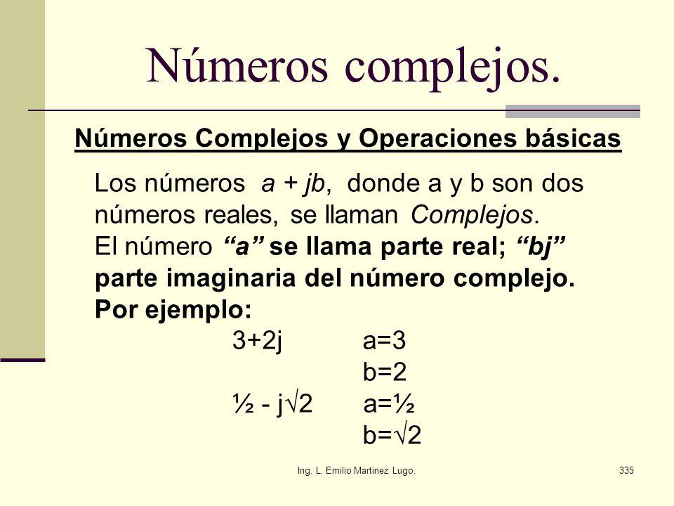 Ing. L. Emilio Martinez Lugo.335 Números complejos. Números Complejos y Operaciones básicas Los números a + jb, donde a y b son dos números reales, se