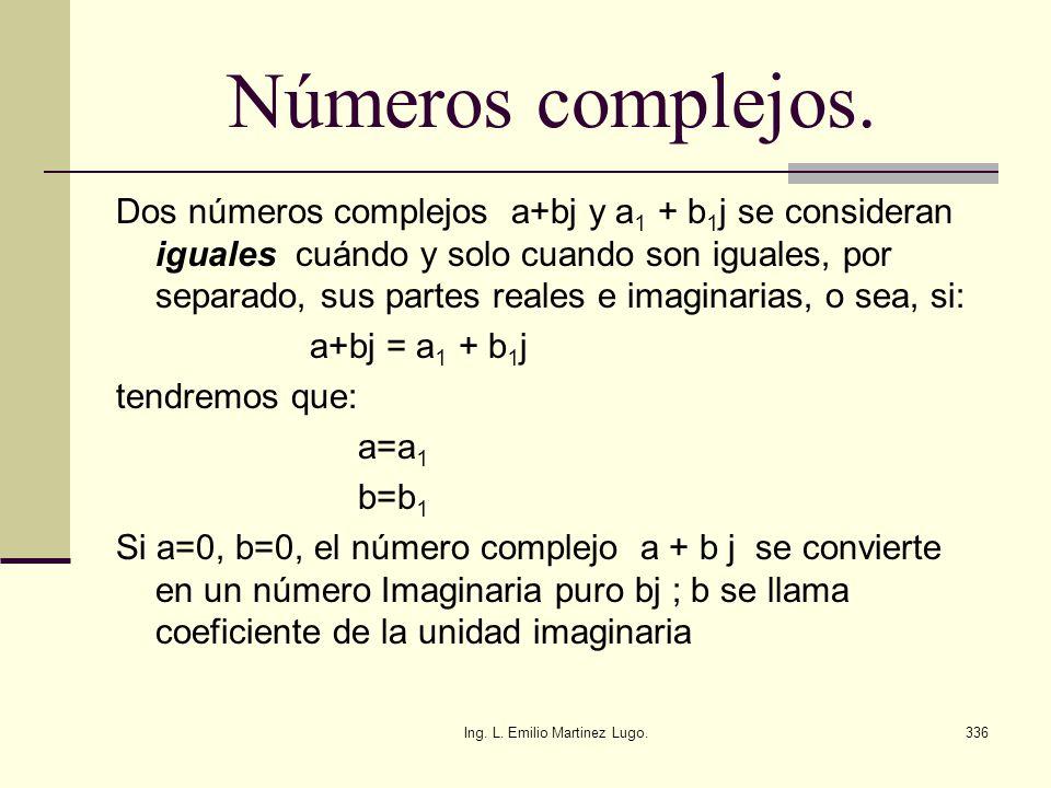 Ing. L. Emilio Martinez Lugo.336 Números complejos. Dos números complejos a+bj y a 1 + b 1 j se consideran iguales cuándo y solo cuando son iguales, p