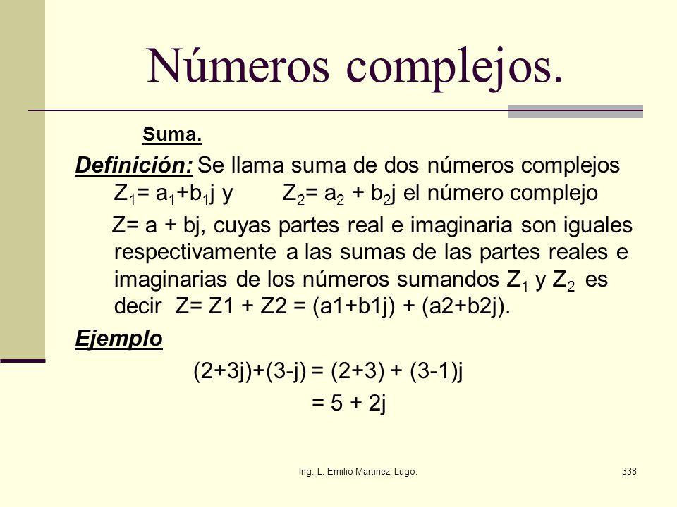 Ing. L. Emilio Martinez Lugo.338 Números complejos. Suma. Definición: Se llama suma de dos números complejos Z 1 = a 1 +b 1 j y Z 2 = a 2 + b 2 j el n