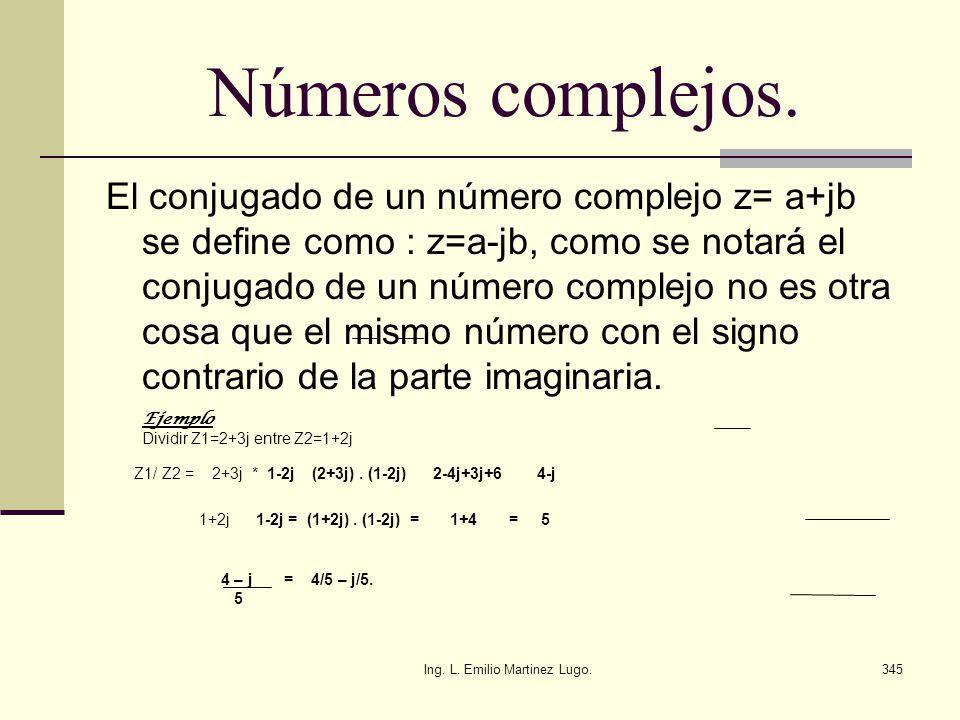 Ing. L. Emilio Martinez Lugo.345 Números complejos. El conjugado de un número complejo z= a+jb se define como : z=a-jb, como se notará el conjugado de