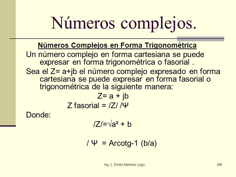 Ing. L. Emilio Martinez Lugo.346 Números complejos. Números Complejos en Forma Trigonométrica Un número complejo en forma cartesiana se puede expresar
