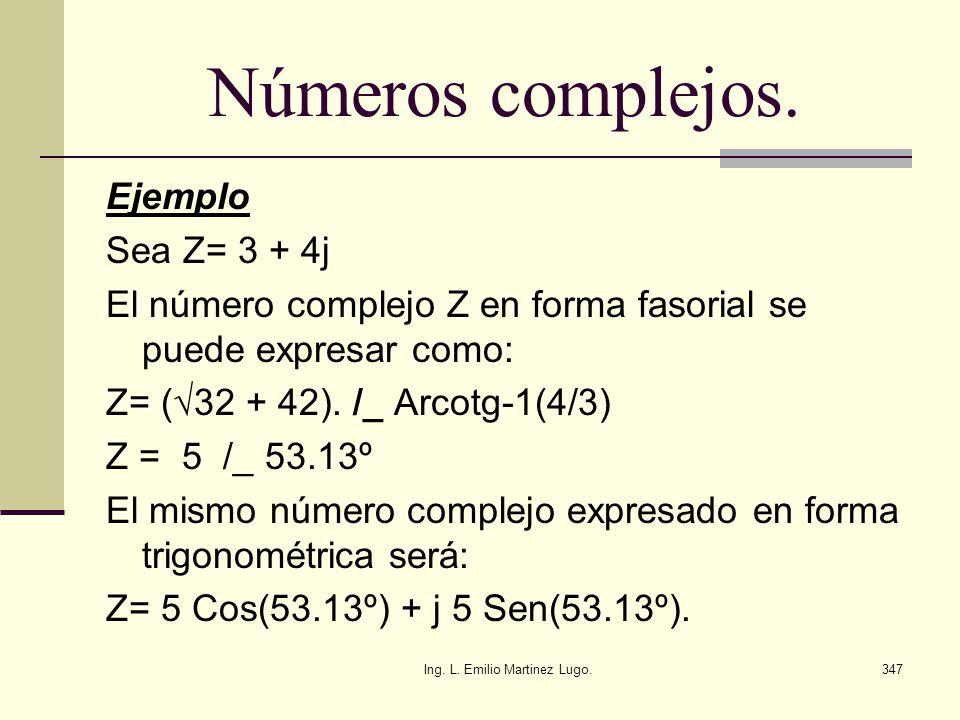 Ing. L. Emilio Martinez Lugo.347 Números complejos. Ejemplo Sea Z= 3 + 4j El número complejo Z en forma fasorial se puede expresar como: Z= (32 + 42).