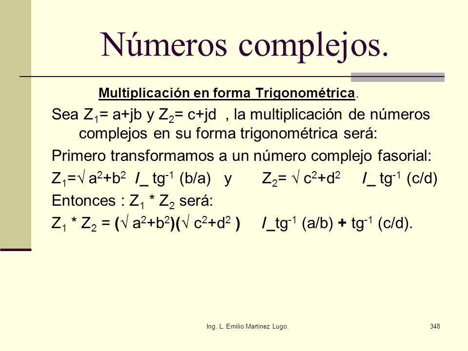 Ing. L. Emilio Martinez Lugo.348 Números complejos. Multiplicación en forma Trigonométrica. Sea Z 1 = a+jb y Z 2 = c+jd, la multiplicación de números