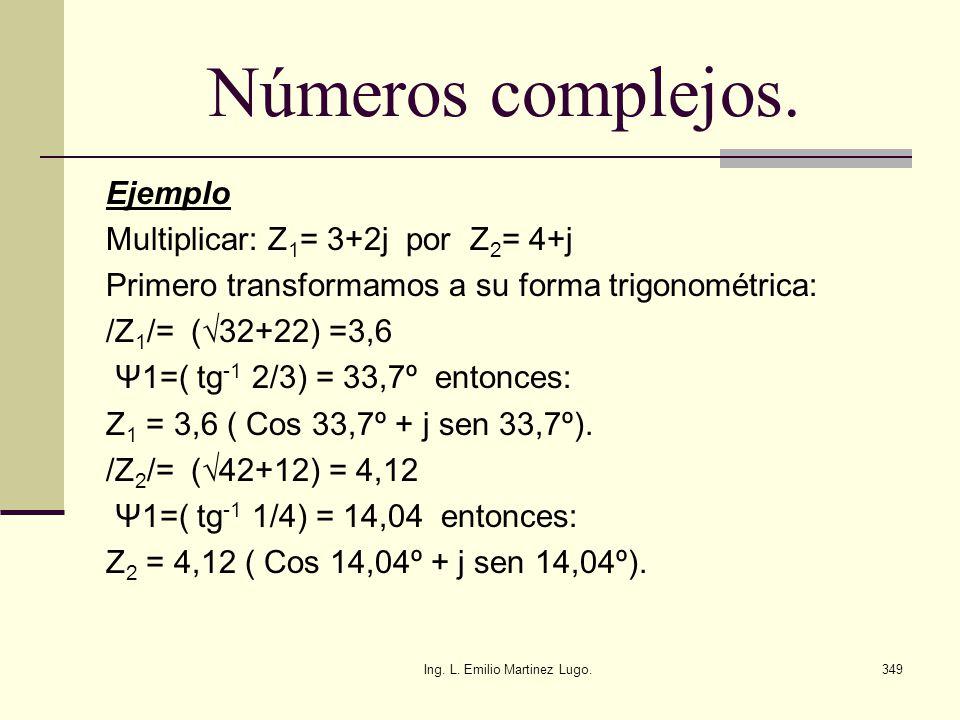 Ing. L. Emilio Martinez Lugo.349 Números complejos. Ejemplo Multiplicar: Z 1 = 3+2j por Z 2 = 4+j Primero transformamos a su forma trigonométrica: /Z