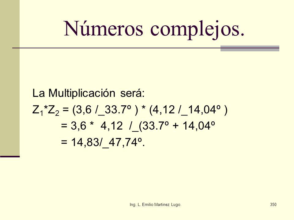 Ing. L. Emilio Martinez Lugo.350 Números complejos. La Multiplicación será: Z 1 *Z 2 = (3,6 /_33.7º ) * (4,12 /_14,04º ) = 3,6 * 4,12 /_(33.7º + 14,04