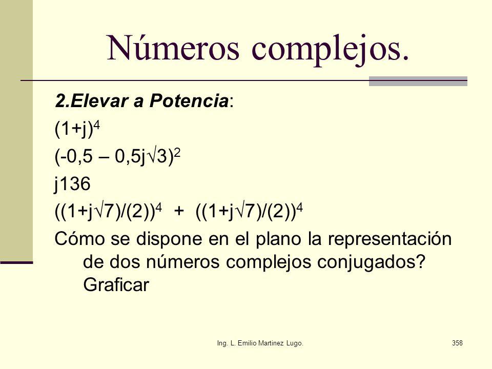 Ing. L. Emilio Martinez Lugo.358 Números complejos. 2.Elevar a Potencia: (1+j) 4 (-0,5 – 0,5j3) 2 j136 ((1+j7)/(2)) 4 + ((1+j7)/(2)) 4 Cómo se dispone