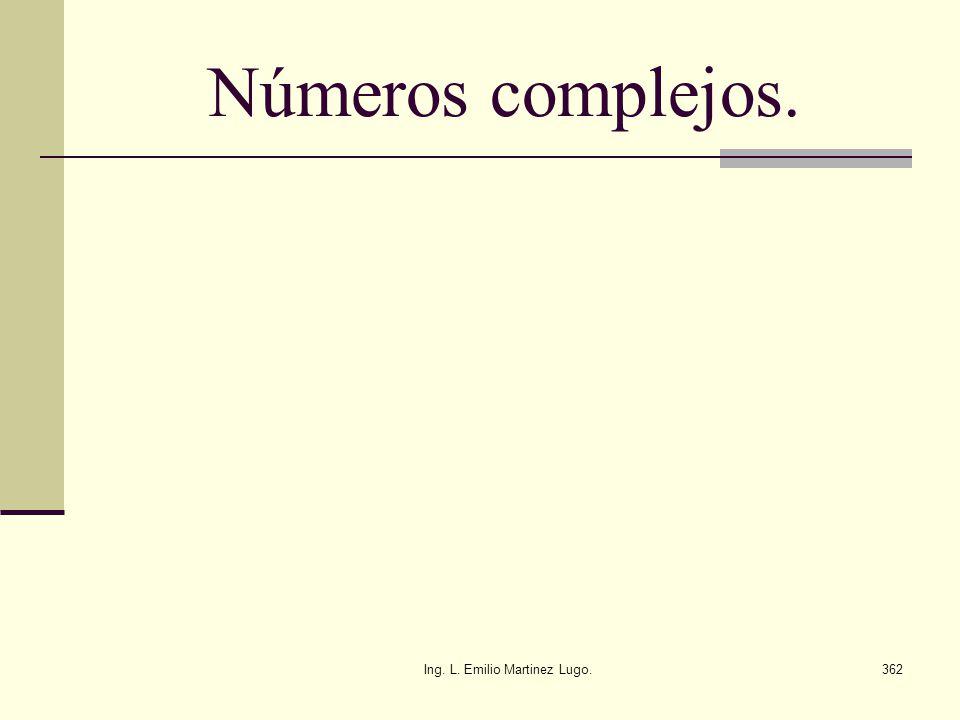 Ing. L. Emilio Martinez Lugo.362 Números complejos.