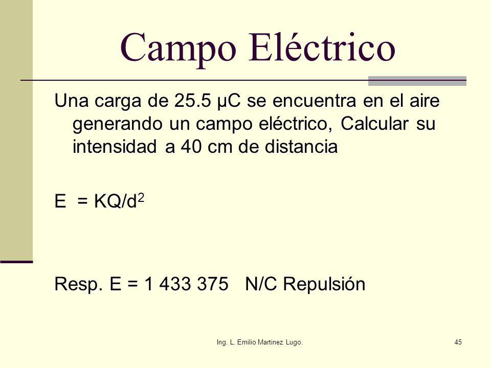 Ing. L. Emilio Martinez Lugo.45 Campo Eléctrico Una carga de 25.5 µC se encuentra en el aire generando un campo eléctrico, Calcular su intensidad a 40