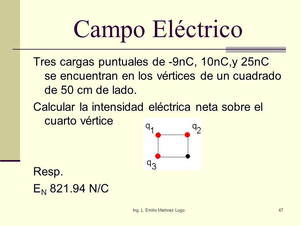 Ing. L. Emilio Martinez Lugo.47 Campo Eléctrico Tres cargas puntuales de -9nC, 10nC,y 25nC se encuentran en los vértices de un cuadrado de 50 cm de la