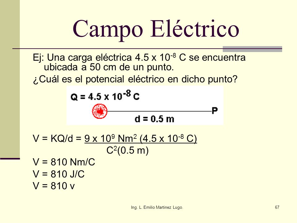 Ing. L. Emilio Martinez Lugo.67 Campo Eléctrico Ej: Una carga eléctrica 4.5 x 10 -8 C se encuentra ubicada a 50 cm de un punto. ¿Cuál es el potencial