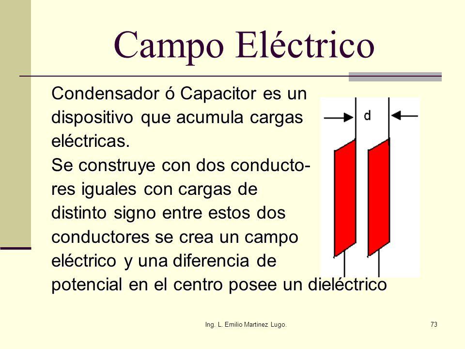 Ing. L. Emilio Martinez Lugo.73 Campo Eléctrico Condensador ó Capacitor es un dispositivo que acumula cargas eléctricas. Se construye con dos conducto