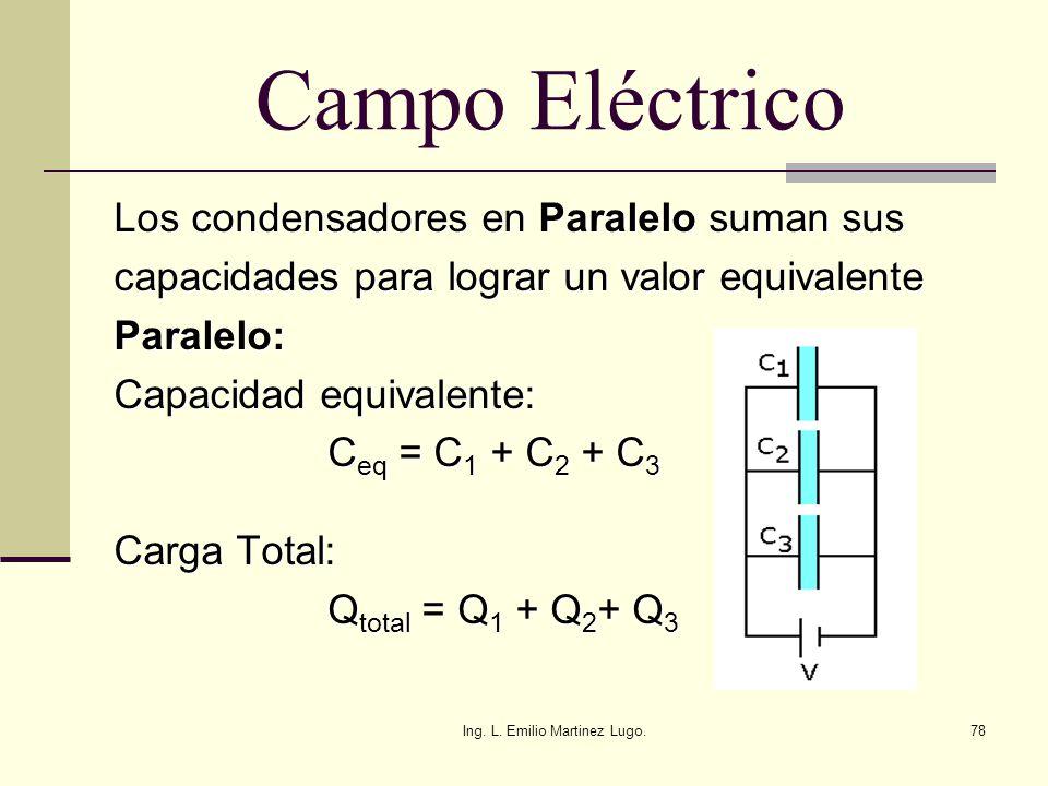 Ing. L. Emilio Martinez Lugo.78 Campo Eléctrico Los condensadores en Paralelo suman sus capacidades para lograr un valor equivalente Paralelo: Capacid