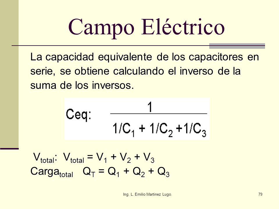 Ing. L. Emilio Martinez Lugo.79 Campo Eléctrico La capacidad equivalente de los capacitores en serie, se obtiene calculando el inverso de la suma de l