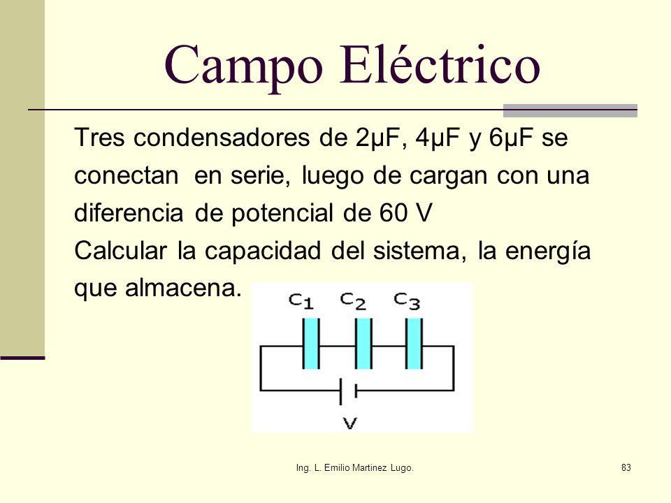 Ing. L. Emilio Martinez Lugo.83 Campo Eléctrico Tres condensadores de 2µF, 4µF y 6µF se conectan en serie, luego de cargan con una diferencia de poten