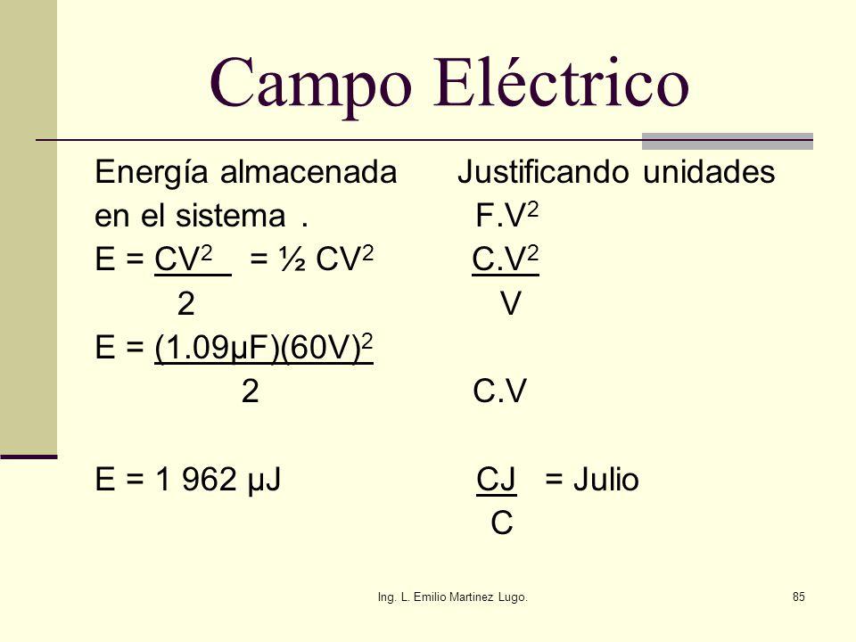 Ing. L. Emilio Martinez Lugo.85 Campo Eléctrico Energía almacenada Justificando unidades en el sistema. F.V 2 E = CV 2 = ½ CV 2 C.V 2 2 V E = (1.09µF)
