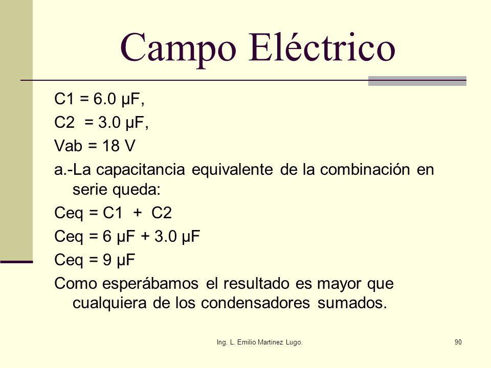 Ing. L. Emilio Martinez Lugo.90 Campo Eléctrico C1 = 6.0 μF, C2 = 3.0 μF, Vab = 18 V a.-La capacitancia equivalente de la combinación en serie queda: