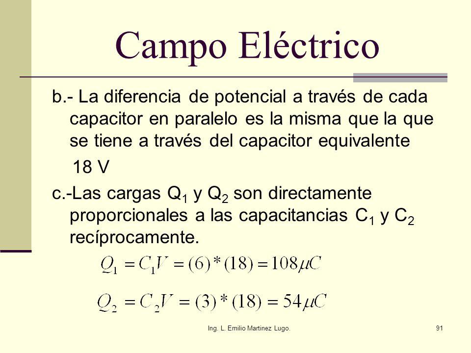 Ing. L. Emilio Martinez Lugo.91 Campo Eléctrico b.- La diferencia de potencial a través de cada capacitor en paralelo es la misma que la que se tiene