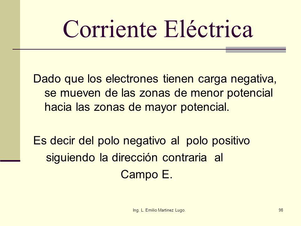 Ing. L. Emilio Martinez Lugo.98 Corriente Eléctrica Dado que los electrones tienen carga negativa, se mueven de las zonas de menor potencial hacia las