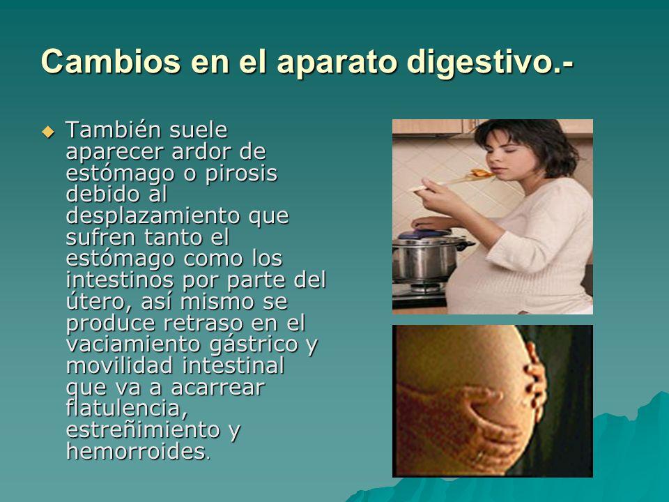 También suele aparecer ardor de estómago o pirosis debido al desplazamiento que sufren tanto el estómago como los intestinos por parte del útero, así