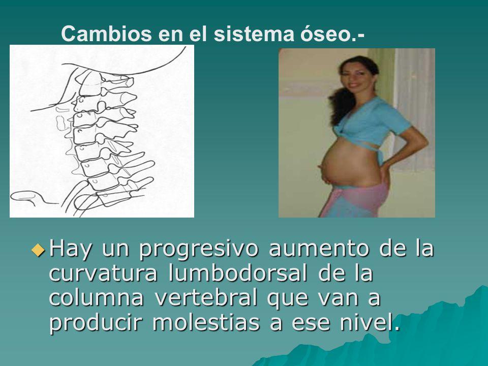 Hay un progresivo aumento de la curvatura lumbodorsal de la columna vertebral que van a producir molestias a ese nivel. Hay un progresivo aumento de l
