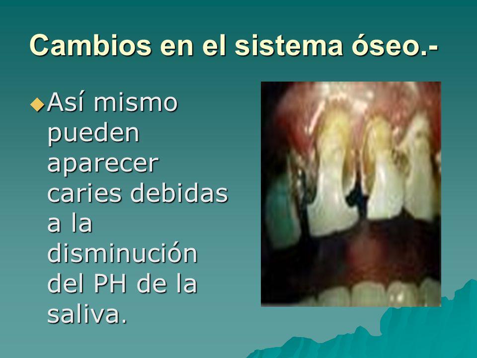 Así mismo pueden aparecer caries debidas a la disminución del PH de la saliva. Así mismo pueden aparecer caries debidas a la disminución del PH de la
