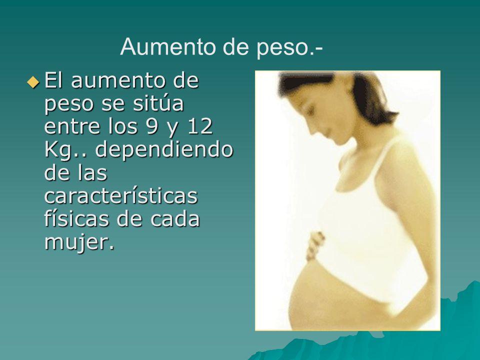 El aumento de peso se sitúa entre los 9 y 12 Kg.. dependiendo de las características físicas de cada mujer. El aumento de peso se sitúa entre los 9 y