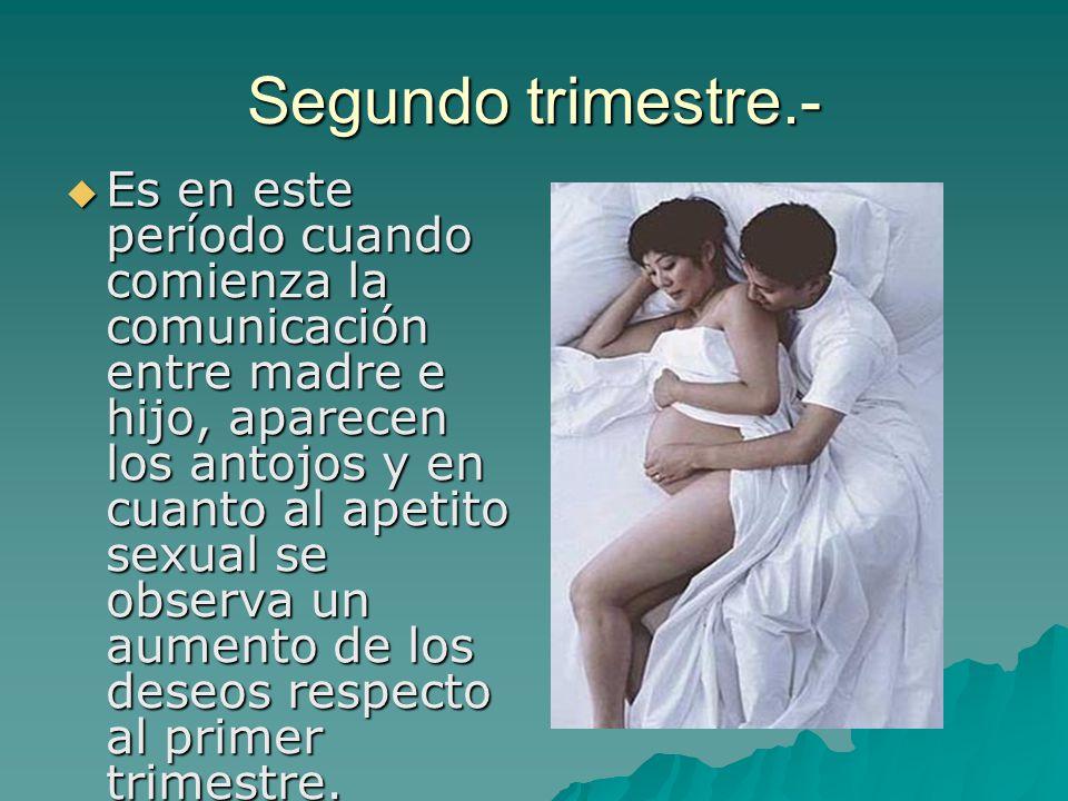 Es en este período cuando comienza la comunicación entre madre e hijo, aparecen los antojos y en cuanto al apetito sexual se observa un aumento de los
