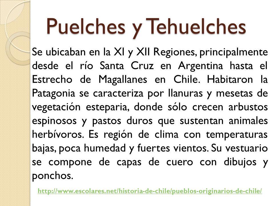 Puelches y Tehuelches Se ubicaban en la XI y XII Regiones, principalmente desde el río Santa Cruz en Argentina hasta el Estrecho de Magallanes en Chile.