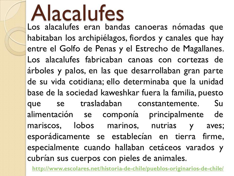 Alacalufes Los alacalufes eran bandas canoeras nómadas que habitaban los archipiélagos, fiordos y canales que hay entre el Golfo de Penas y el Estrecho de Magallanes.
