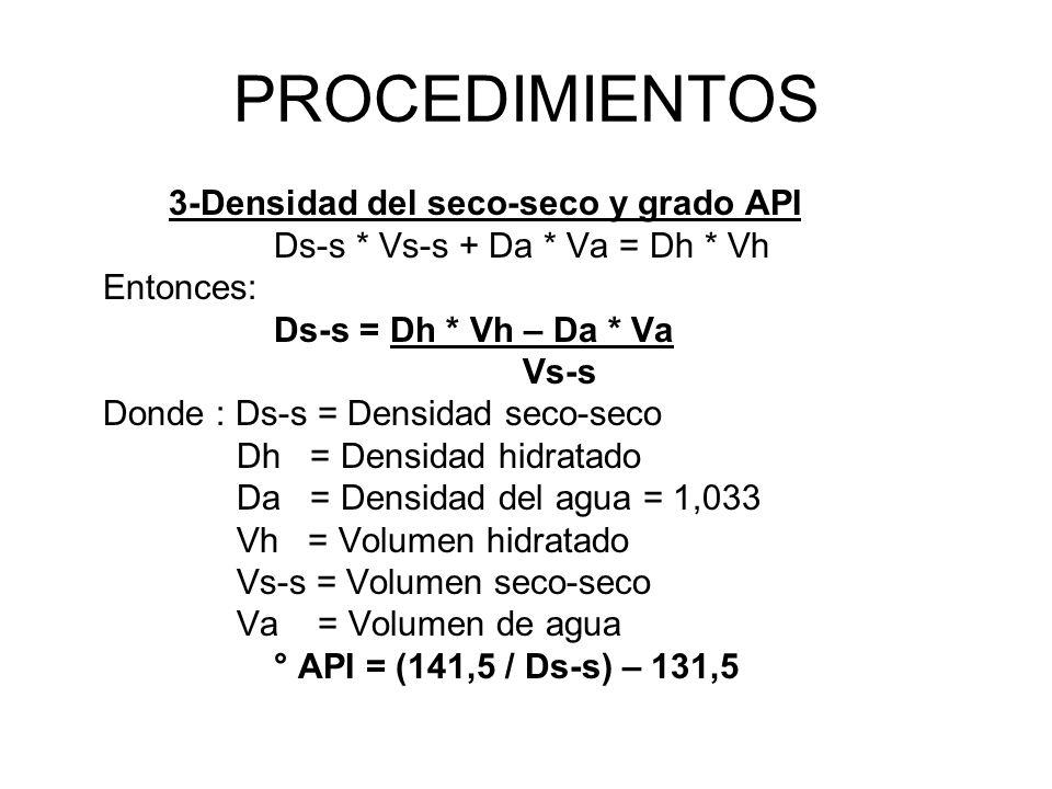 PROCEDIMIENTOS 3-Densidad del seco-seco y grado API Ds-s * Vs-s + Da * Va = Dh * Vh Entonces: Ds-s = Dh * Vh – Da * Va Vs-s Donde : Ds-s = Densidad seco-seco Dh = Densidad hidratado Da = Densidad del agua = 1,033 Vh = Volumen hidratado Vs-s = Volumen seco-seco Va = Volumen de agua ° API = (141,5 / Ds-s) – 131,5