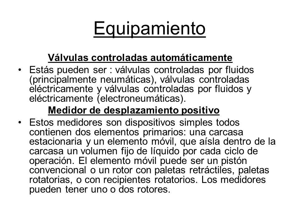 Equipamiento Válvulas controladas automáticamente Estás pueden ser : válvulas controladas por fluidos (principalmente neumáticas), válvulas controladas eléctricamente y válvulas controladas por fluidos y eléctricamente (electroneumáticas).