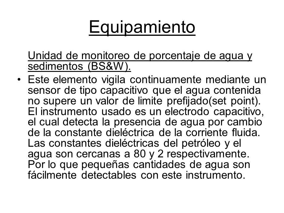 Equipamiento Unidad de monitoreo de porcentaje de agua y sedimentos (BS&W).