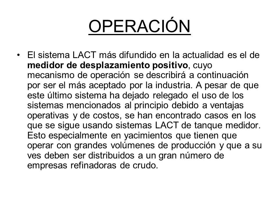 OPERACIÓN El sistema LACT más difundido en la actualidad es el de medidor de desplazamiento positivo, cuyo mecanismo de operación se describirá a continuación por ser el más aceptado por la industria.